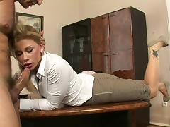 Gorgeous blonde secretary gets her cunt licked at work