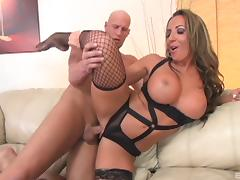Pornstar in fishnet stockings feels excited as she gets penetrated hardcore with a giant rod