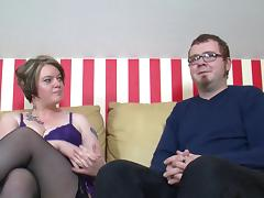 Tattooed slut with a chubby body enjoying a fantastic MMF threesome