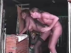 Nubian Goddess  Dominque  fucks a guy in a truck tube porn video