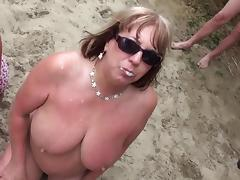 Beach Bukakke porn tube video