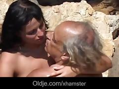 Dirty brunette rimming and sucking overaged old cock