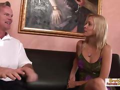 Leggy blonde Payton Leigh's MILF creampie fuck
