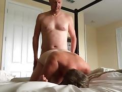 Wife fucked by hubby's friend, he fucks her in all holes porn tube video