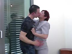 Mom with hairy pussy gets young cock