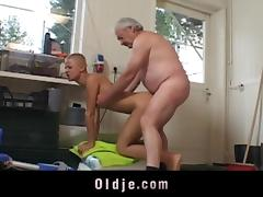 Part time working student sucking her employer old dick