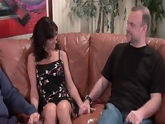 Stranger fucks my sexy black hair wife on brown couch porn tube video