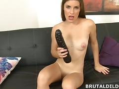 Big black dildo stretches her hole