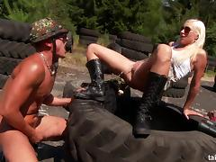 A naughty military girl sucks and fucks a guy on an obstacle course tube porn video
