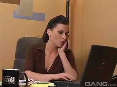 Sexy boss strips her new employee naked and eats wet pussy