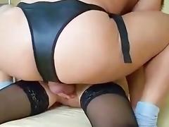German brunette double penetrated with cock and stapon