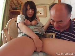 Vixenish Japanese cowgirl milks a cock onto her big melons
