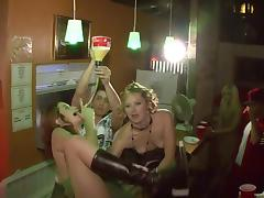 Alluring drunkard babes getting worked on hardcore in the party