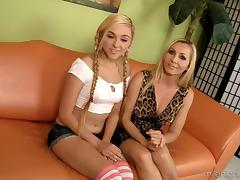 Milf and teen on their knees to suck a dick together