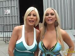 Fun backstage footage of sexy blondes playing around nude