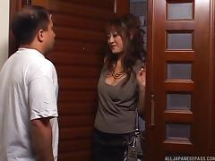 Mom and Boy, Asian, Big Tits, Blowjob, Couple, Cowgirl