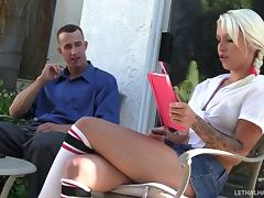 Sporty socks girl Stevie Shae enjoys a massive dick