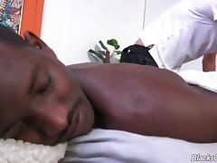 A white gay guy sucks then rides his black boyfriend's cock porn tube video