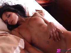 Buxom babe with long dark hair touching her sexy body tube porn video