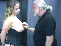 Busty brunet babe in corset gets throat fucked and gags on cock tube porn video