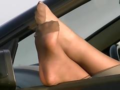 Nylon Feet out of car window