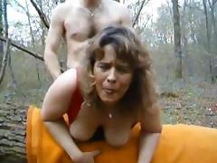 German MILF huge butt outside anal
