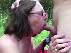 71yr old Hairy Grandma fuck outdoor by 18yr old German Boy