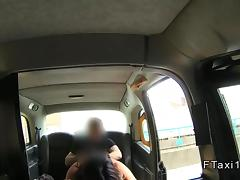 Busty Brit Milf anal banged in a fake taxi tube porn video