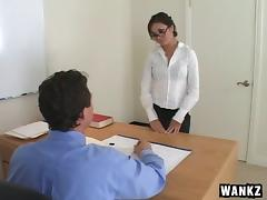 Asian secretary beauty bends over for cock from her boss
