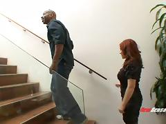 Amazing redhead MILF meets the black cock of her dreams