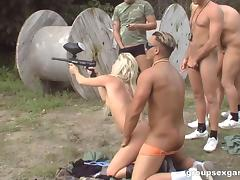 Paintball teams forget about the game to have group sex porn tube video