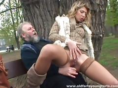 Adorable cougar seduces an old man and gets screwed at the park