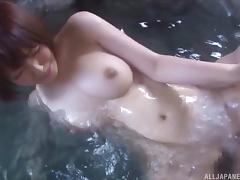 This Japanese couple loves to go outside and fuck in the hot tub