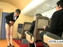 Subtitled bottomless Japan fight attendant bends over tube porn video