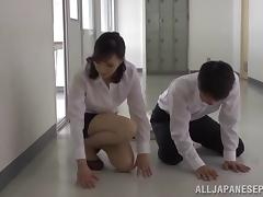 Asian beauty in a short skirt gets fucked silly after delivering a blowjob