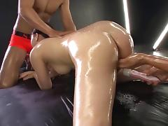 Sensual Japanese girl uses oil, her mouth, and pussy to get him off