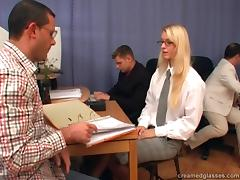 Three cocks completely ravish blonde office babe with glasses