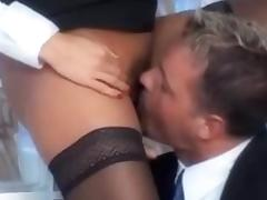 Stunning blond secretary in stockings fucked in the office tube porn video