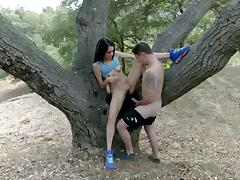 Strong pounding in the woods with Mila Blaze tube porn video