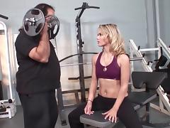 Chubby Ron Jeremy fucks hot and fit blonde Sophia Lynn