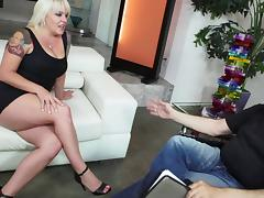 Chunky blonde wife is hungry for a rock hard schlong