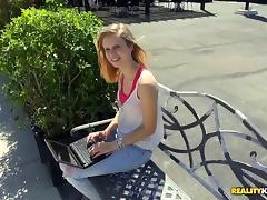 Skinny blonde in jeans rides a big cock hardcore in pov tube porn video
