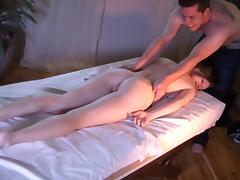 Lovely gal Ashley Hills enjoys massage and gets her pussy slammed