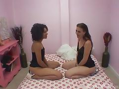 Afro lesbian beauty seduces her friend into hot sapphic sex