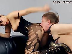 Femdom facesitting bodystocking tube porn video