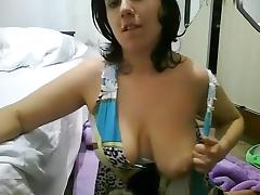 Italian Amateur, Big Tits, Brunette, Kissing, Solo, Webcam