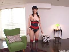 Corseted girl gets tied up so he can have fun with her body