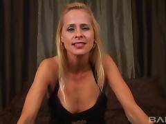 Tattooed blonde cougar with a pierced pussy sucking a stranger's cock