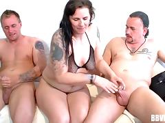Kinky tattooed mature bitch gets drilled by a couple of guys