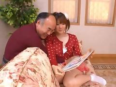 Old Man, Asian, Big Tits, Couple, Cute, Handjob